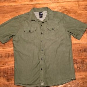 North Face Army Green Button Down